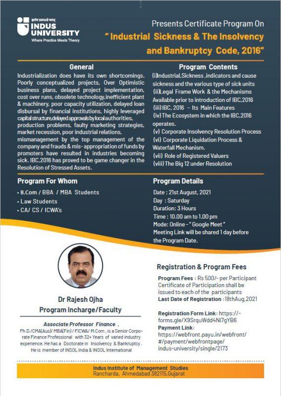 Poster Certificate Program Industrial Sickness