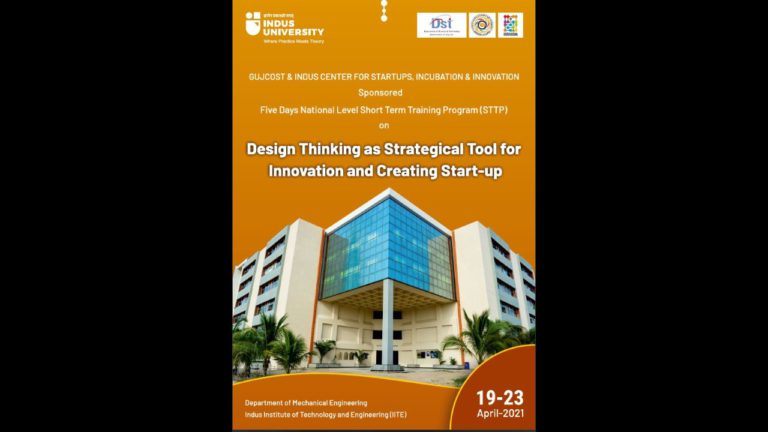 STTP on Design Thinking as Strategical Tool for Innovation and Creating Start-upA